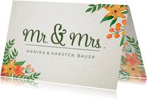 Glückwunschkarte zur Hochzeit mit stilvollen Blumen