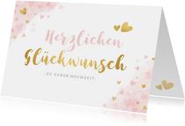 Glückwunschkarte zur Hochzeit Rosa und Gold
