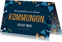 Glückwunschkarte zur Kommunion Dreiecke