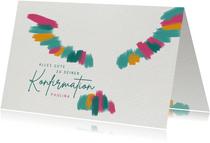 Glückwunschkarte zur Konfirmation mit bunter Taube