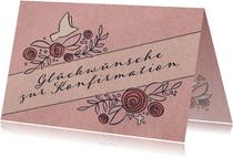 Glückwunschkarte zur Konfirmation mit Rosen