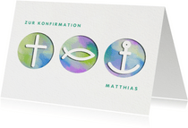 Glückwunschkarte zur Konfirmation Symbole