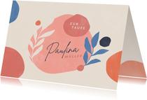 Glückwunschkarte zur Taufe Boho Floral Rosa