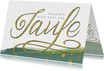 Glückwunschkarte zur Taufe mit Hand-Lettering Gold