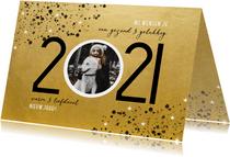 Goudlook nieuwjaarskaart 2021 spetters sterren en foto