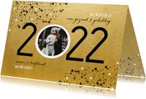 Goudlook nieuwjaarskaart 2022 spetters sterren en foto