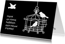 Grappig verhuisbericht met kooitje en vogeltjes