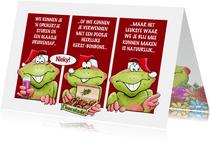 Grappige kaart met kikkers, die je fijne kerstdagen wensen