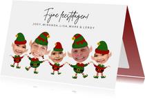 Grappige kerstkaart kerst Elfjes 5 personen met eigen foto
