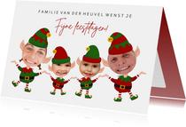 Grappige kerstkaart - maak een kerstelf van jezelf - 4 pers