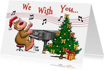 Grappige kerstkaart met beertjes die muziek maken