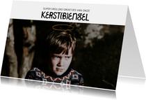 Grappige kerstkaart met foto en aureool