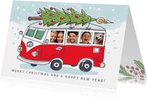 Grappige kerstkaart met volkswagenbusje en foto's