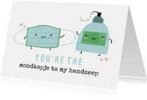 Grappige liefdekaart mondmasker en handzeep illustratie
