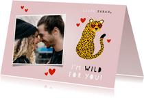 Grappige liefdekaart panter met zonnebril hartjes & foto