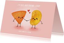 """Grappige liefdeskaart """"friend-chip"""" met chips illustratie"""