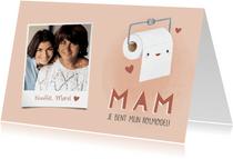 Grappige moederdag kaart wc rol, hartjes en eigen foto