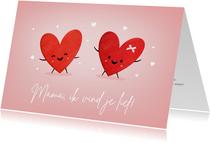 Grappige moederdagkaart met 2 hartjes met oogjes