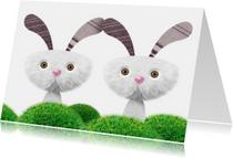 Grappige tweeling kaart met konijntjes