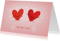 Grappige valentijnskaart met 2 hartjes - jij maakt me blij!