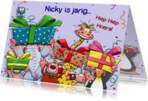 Grappige verjaardagskaart beestenboel met pakjes