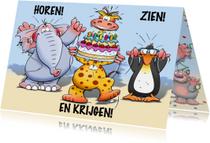 Grappige verjaardagskaart horen zien en krijgen