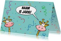 Grappige verjaardagskaart met giraffen