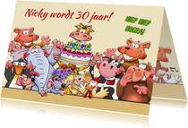 Grappige verjaardagskaart met leuke dieren