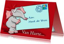 Grappige verjaardagskaart olifant met briefje