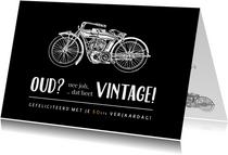Grappige vintage of oude motor verjaardagskaart voor een man