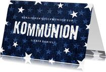 Gratulationskarte Kommunion Sterne & Jeans