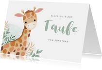 Gratulationskarte Taufe kleine Giraffe