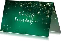 Groene zakelijke kerstkaart met lichtjes
