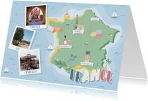 Groeten uit Frankrijk met grappige landkaart en fotocollage