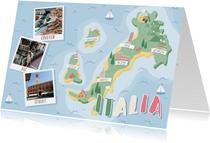 Groeten uit Italië met grappige landkaart en polaroid foto's