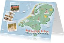 Groeten uit Nederland met grappige landkaart en fotocollage