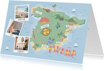 Groeten uit Spanje met grappige landkaart en polaroid foto's