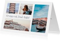 Groeten uit ... vakantie ansichtkaart met 4 eigen foto's