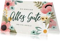 Grußkarte Alles Gute mit Blumenmuster