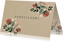 Grußkarte Dankeschön Blumen auf Kraftpapier