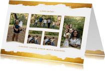 Grußkarte Goldlook mit fünf Fotos