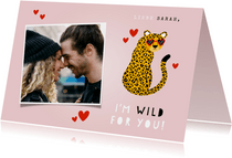 Grußkarte Liebe 'I'm wild for you' mit Panther
