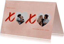 Grußkarte Liebe xoxo mit Fotos
