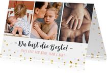 Grußkarte Muttertag drei Fotos und Konfetti