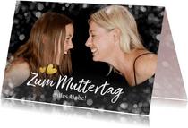 Grußkarte Muttertag großes Foto und Herzchen