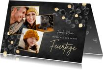 Grußkarte Weihnachten Fotocollage Goldblätter
