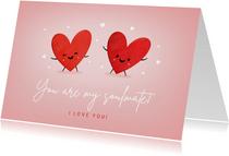Grußkarte zwei Herzen