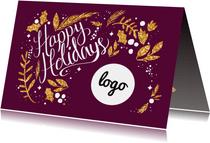 Happy Holidays goud met logo
