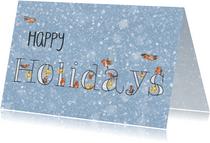 Happy holidays roodborstjes kerstkaart