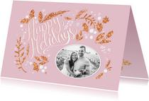 Happy Holidays roze met foto
